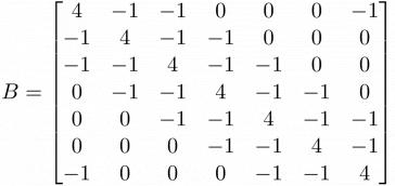 $B = \begin{bmatrix}  4 & -1 & -1 &  0 &  0 &  0 & -1 \\  -1 &  4 & -1 & -1 &  0 &  0 &  0 \\  -1 & -1 &  4 & -1 & -1 &  0 &  0 \\   0 & -1 & -1 &  4 & -1 & -1 &  0 \\   0 &  0 & -1 & -1 &  4 & -1 & -1 \\   0 &  0 &  0 & -1 & -1 &  4 & -1 \\  -1 &  0 &  0 &  0 & -1 & -1 &  4 \end{bmatrix}$